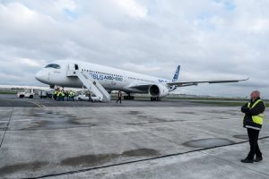 The Airbus A350-1000 airplane gets ready for it's first flight on Nov. 24